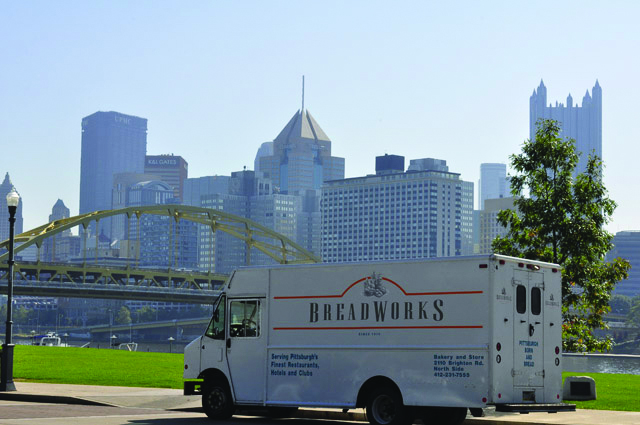 Breadworks delivery truck parked in Pittsburgh